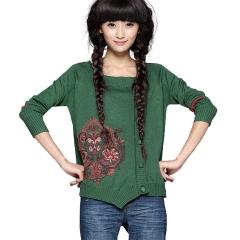 正品 2015春装新款 女 绣花针织衫 开衫外套浮桑初 绿色