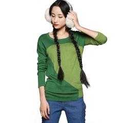 2015春款打底毛衫拼色毛衣 长袖套头针织衫 莺 绿色
