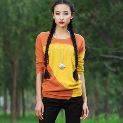 2015春款打底毛衫拼色毛衣 长袖套头针织衫 莺 橙色