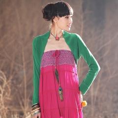 春装 披肩式 超短款 针织 衫开衫 女装 青鸟 绿色