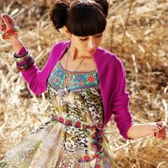 春装 披肩式 超短款 针织 衫开衫 女装 青鸟 梅红