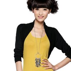 春装 披肩式 超短款 针织 衫开衫 女装 青鸟 黑色