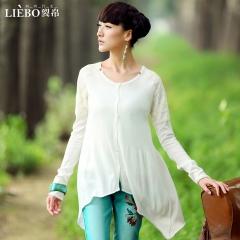 新款 女款 拼接 不规则摆 长袖针织衫开衫 杏雨 白色